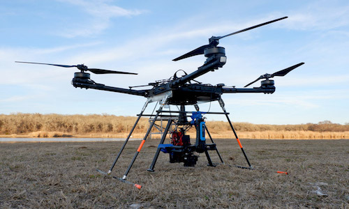 Aerial robots developed by UT Dallas researchers can carry several cameras.